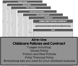 mac n peas daycare policies contract childcare homeschool preschool curriculum menu business forms start a home daycare babysitting nanny waldorf montessori play based